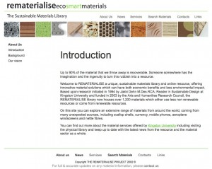 Rematerialise Web Site at University of Kingston
